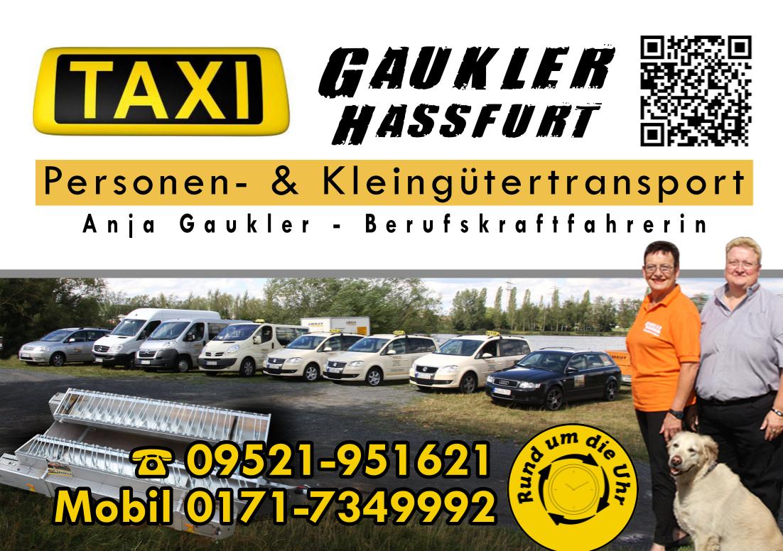 Taxi Gaukler Haßfurt - Mit uns sind Sie auf dem richtigen Weg. Rund um die Uhr.